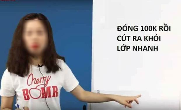 Bài giảng của cô giáo K.T được dân mạng chụp màn hình và thêm dòng chữ yêu cầu đóng 100k.