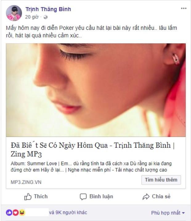 Chia sẻ của Trịnh Thăng Bình khi anh được các fan yêu cầu hát lại Đã biết sẽ có ngày hôm qua.