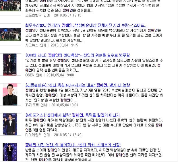 Hậu Baeksang, loạt bài báo đăng tin về Jung Hae In.