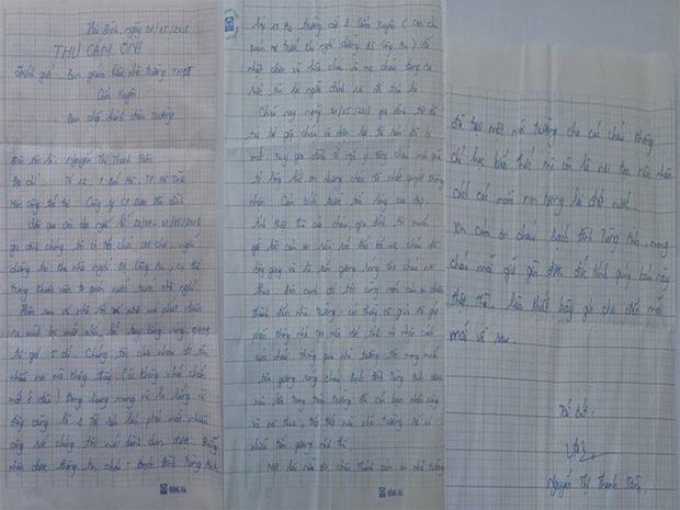 Lá thư cảm ơn của chị Tâm gửi đến trường THPT Cẩm Xuyên.