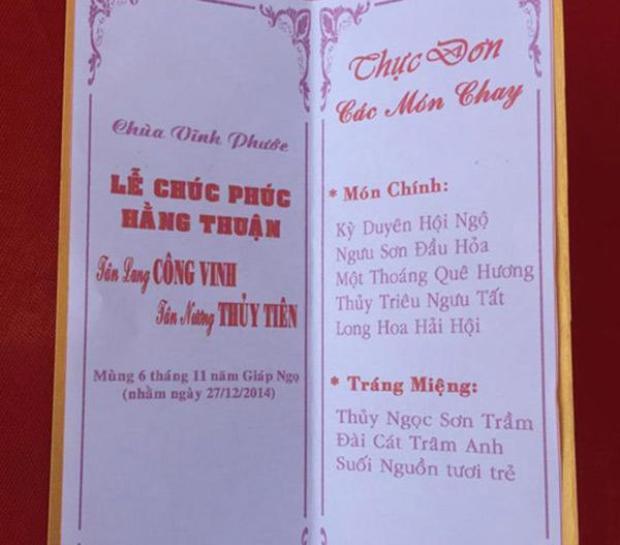 Thực đơn của cỗ chay giản dị trong đám cưới Thủy Tiên - Công Vinh gồm có 5 món ăn chính và 3 món tráng miệng với những cái tên rất kêu.