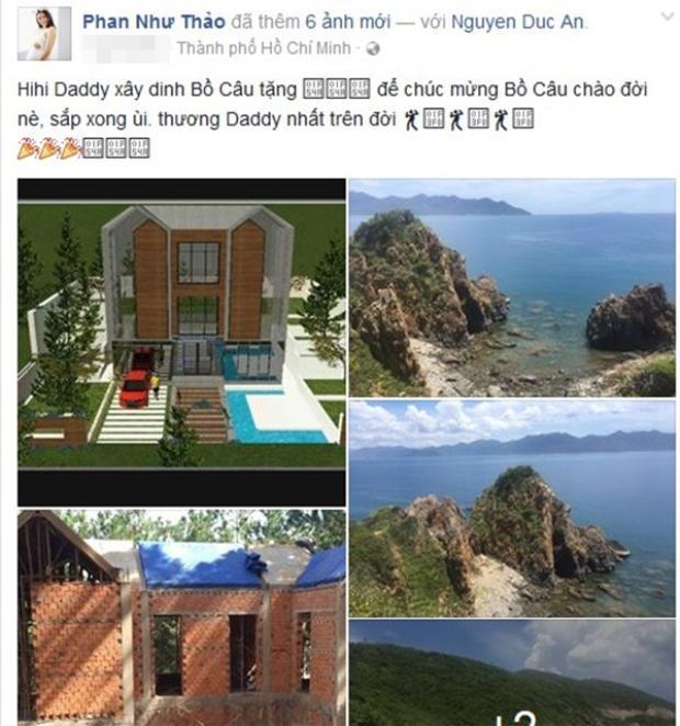 """Doanh nhân Đức An, chồng người mẫu Phan Như Thảo khiến cư dân mạng xôn xao vì độ cưng chiều con gái khi """"mạnh tay"""" xây ba căn biệt thự tại các điểm du lịch ở Việt Nam làm quà."""