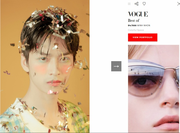 Một trong những tấm ảnh được chọn là bức ảnh đẹp nhất của Vogue Italy phiên bản online (vogue.it).