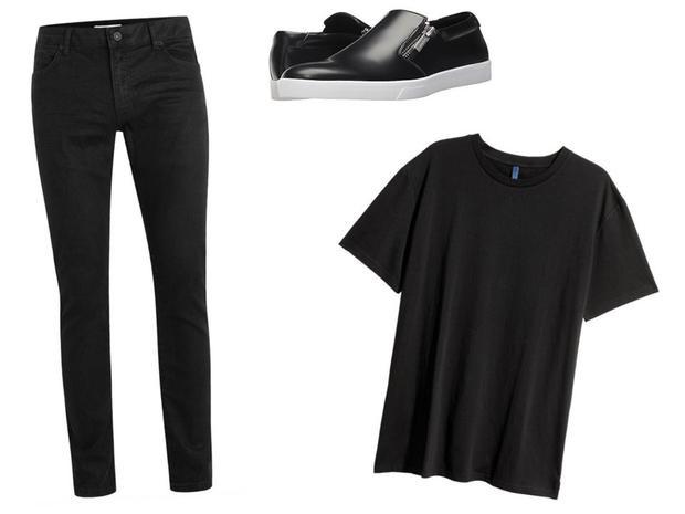 Áo phông H&M 10 USD, quần jeans Topman 75 USD và giày Calvin Klein giá 60 USD.