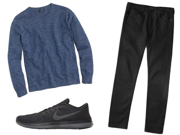 Áo thun dài tay của C.rew 49,5 USD, quần jeans Everlane 68 USD và giày Nike Flex RN 2017 có giá 60 USD.