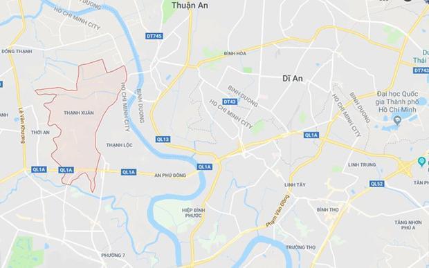 Phường Thạnh Xuân (màu đỏ) ở TP.HCM. Ảnh: Google Maps.