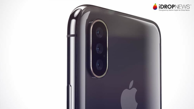 Ảnh dựng iPhone với hệ thống camera ba ống kính ở mặt lưng.