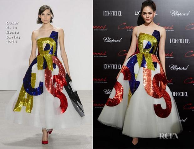 Tham gia sự kiện mới đây của L'Oreal, Chompoo lựa chọn trang phục của thương hiệu Oscar de la Renta.