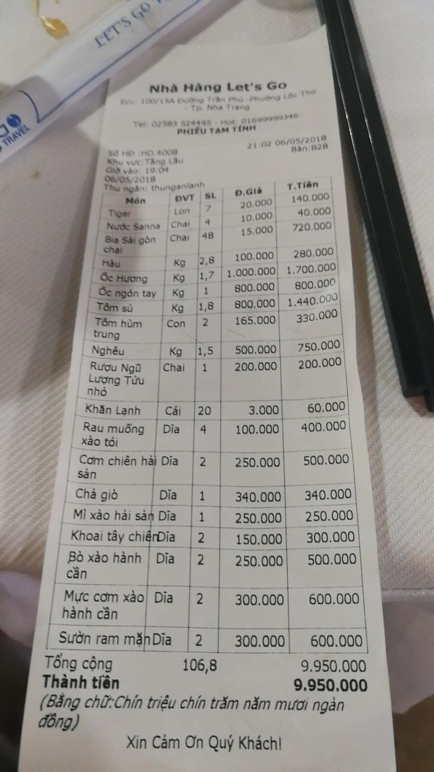 Hóa đơn Công ty TNHH Du lịch Khang Thái cung cấp cho báo chí