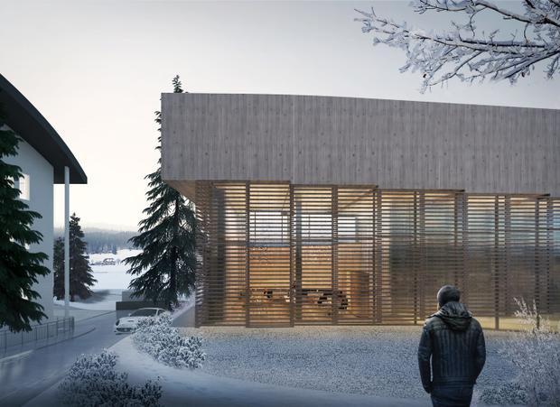Khách sạn có hẳn một sân trượt tuyết trên mái nhà