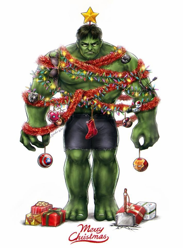 Bonus thêm bức hình cây thông noel Hulk phiên bản khá ám ảnh.