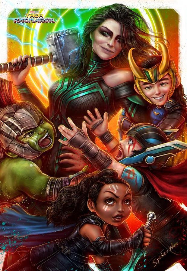 Poster Thor: Ragnarok phiên bản chibi khiến nhân vật nhỏ đi hàng ngàn tuổi.