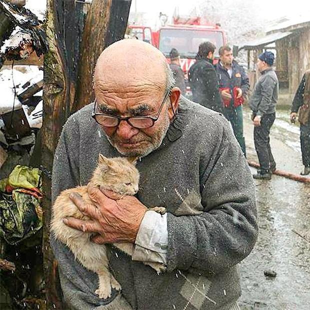 Ali và gia đình sống tại một ngôi làng nhỏ ở Thổ Nhĩ Kỳ đã mất tất cả khi mái ấm của ông bị biển lửa nhấn chìm. May mắn, người thân của Ali không ai bị thương, thậm chí chú mèo nhỏ của ông cũng thoát khỏi đám cháy an toàn. Hình ảnh ông Ali run rẩy, nhem nhuốc ôm chú mèo nhỏ khiến mọi người cực kỳ ngạc nhiên và lan rộng khắp thế giới. Các nhà chức trách Thổ Nhĩ Kỹ sau đó giúp ông Ali và gia đình xây dựng lại căn nhà mới. Ảnh: NTV Radyo/Facebook