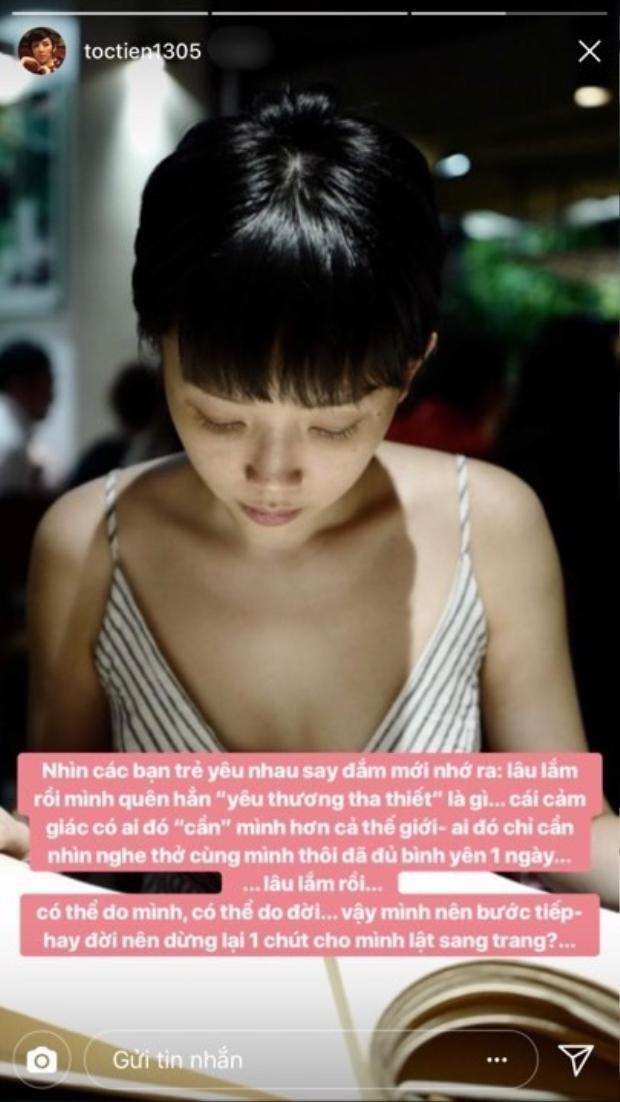 Bài đăng của Tóc Tiên khiến fan cho rằng cô và Touliver đã chia tay.