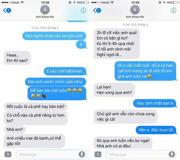 Tức nước vỡ bờ, Phạm Lịch công khai tin nhắn Phạm Anh Khoa nhiều lần rủ rê tập đêm khi vợ con đi vắng
