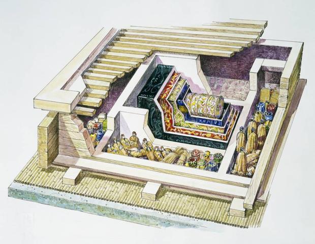 Bản vẽ mô phỏng ngôi mộ của Xin Zhui sau khi được tìm thấy.