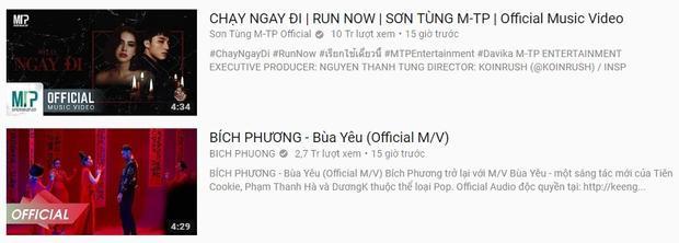 Hai MV mới của Bích Phương và Sơn Tùng tranh nhau dẫn đầu Top Thịnh hành Youtube.