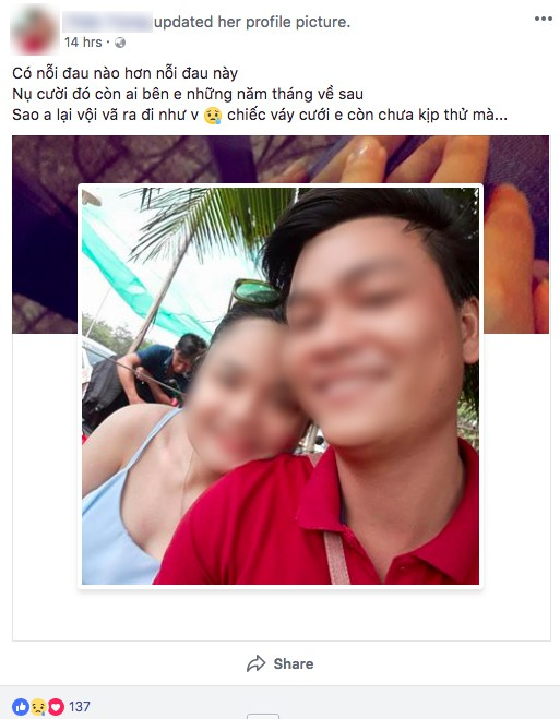 Dòng trạng thái kèm theo bức ảnh cười tươi của anh Nam và vợ sắp cưới khiến người ta xót xa. Ảnh chụp màn hình.