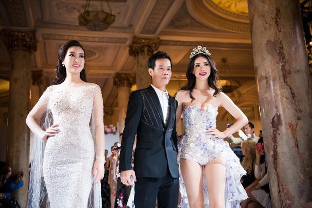 Xuất hiện với vai trò vedette trong show của NTK Hoàng Hải, Đỗ Mỹ Linh khoe nhan sắc lộng lẫy, chẳng hề kém cạnh Hoa hậu Hoàn vũ 2007 Ryio Mori.