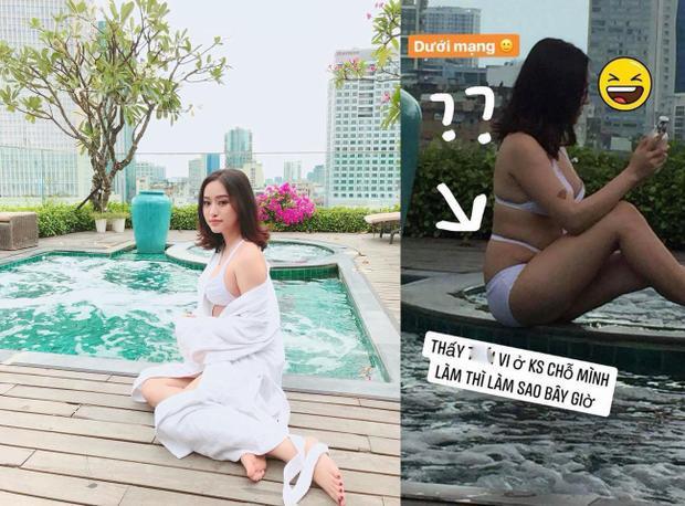 Bị cư dân mạng chụp lén ảnh lộ bụng mỡ ở hồ bơi, Thuý Vi có cách phản ứng không ngờ