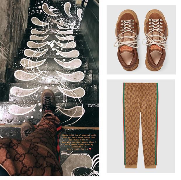 """Sơn Tùng thông báo """"nhẹ"""" với các fan về món quà mình sắp gửi tặng. Trong bức ảnh thông báo, anh chàng đi đôi giầy màu camel của Gucci có giá tới 26 triệu đồng, chiếc quần jogging có giá tới 33 triệu. Quả là một outfit đơn giản nhưng giá thì cao ngút trời."""