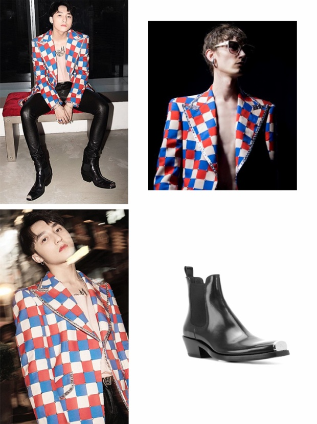 Trong lần xuất hiện tại Hồng Kong, Sơn Tùng đã diện chiếc áo vest trong phiên bản giới hạn của Gucci, lấy cảm hứng thiết kế từ danh ca Elton John. Anh chàng kết hợp chiếc áo khoác này với đôi boot Calvin Klein yêu thích, có giá gần 40 triệu.