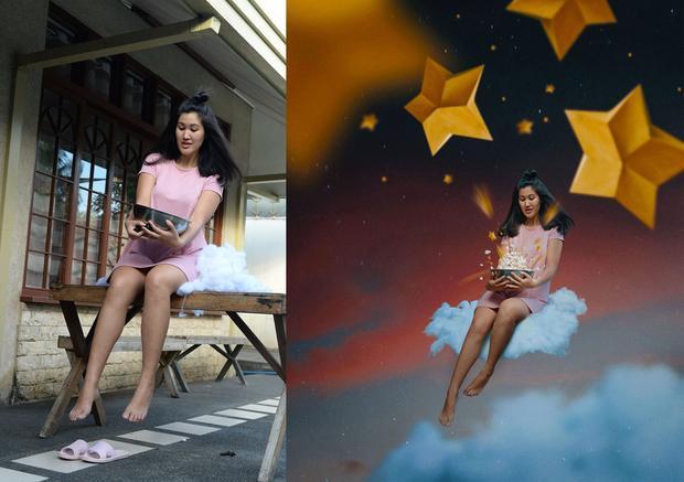 Một chiếc bát không bỗng dưng được biến thành một chiếc bát đựng đầy bỏng ngô và một bầu trời đầy sao dưới bàn tay của cô.