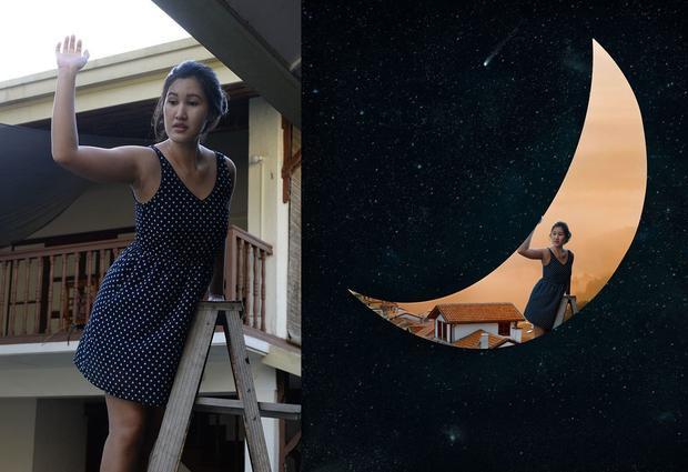 Yu đặt mình bên trong mặt trăng cực kì ấn tượng chỉ bằng cách trèo lên một chiếc thang.