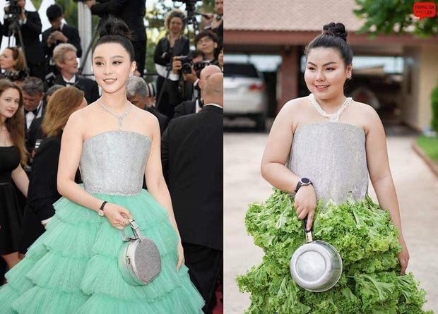 Xong rồi thì bay tới Cannes với chiếc váy làm bằng xà lách này.