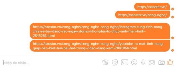 Các đường dẫn trên khung chat chỉ hiển thị như một văn bản thông thường.