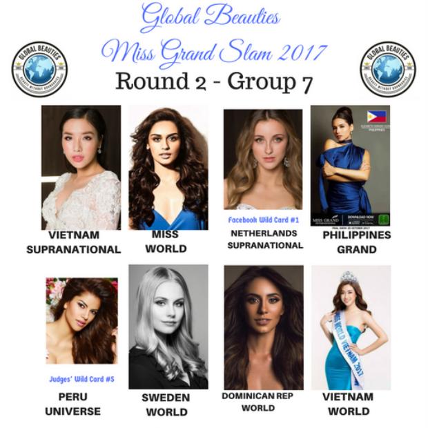 Như vậy Việt Nam chỉ có duy nhất Huyền My (top 10 Miss Grand International - Hoa hậu Hòa bình Quốc tế 2017) được lọt top 32 Miss Grand Slam - Hoa hậu của các Hoa hậu 2017.