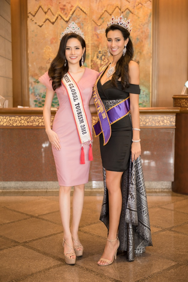 Sau sự cố quên trao vương miện, Hoa hậu Du lịch toàn cầu 2018  Diệu Linh vẫn rạng rỡ tham gia hoạt động xã hội tại Thái Lan