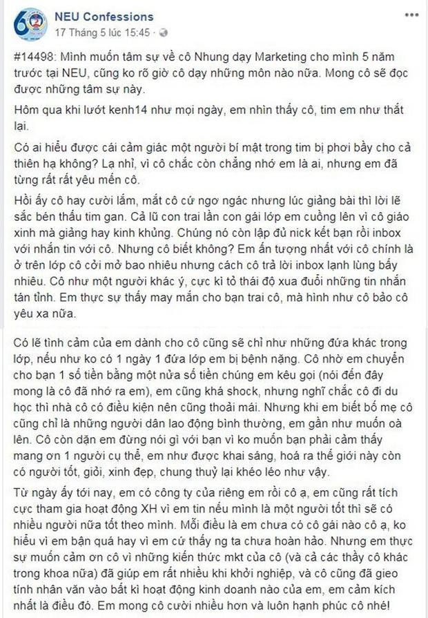 Nội dung bài viết của học trò về cô giáo Hồng Nhung