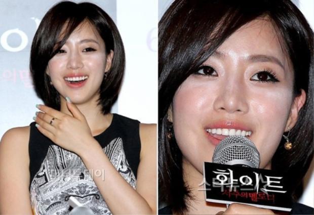Eunjung trang điểm nền quá dày và tán phấn highlight không kỹ khiến khuôn mặt trông loang lổ, kì quặc.