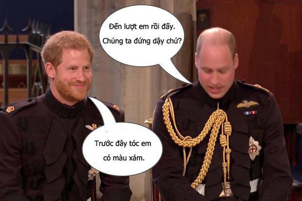 Đoạn hội thoại giữa Hoàng tử Harry và William trong nhà thờ.
