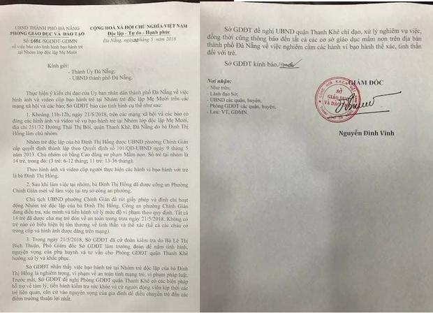 Báo cáo của Sở GDĐT TP. Đà Nẵng gửi thành ủy Đà Nẵng.