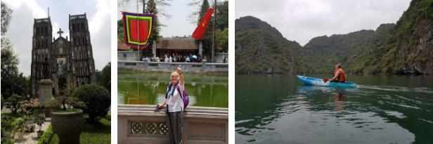 Bà Ryan và bạn bè trong chuyến thăm Hà Nội, cố đô Hoa Lư và Tràng An. Ảnh: NVCC