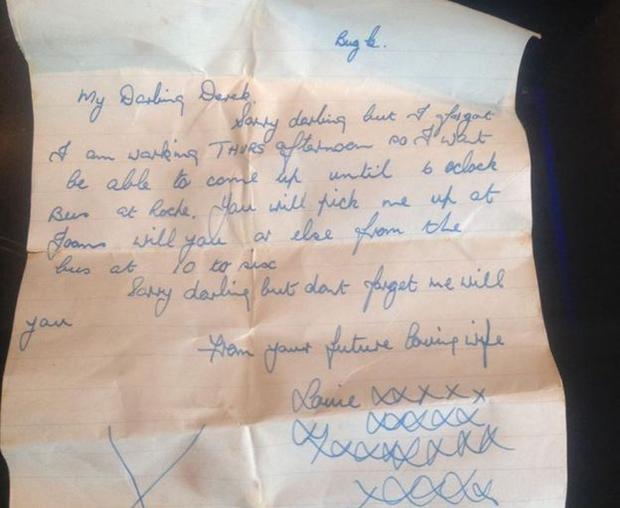 Bức thư cụ Louie viết cho người yêu cũng chính là chồng hiện tại từ 60 năm trước. Ảnh: BBC