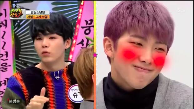Vẻ mặt ngại ngùng khi được giới thiệu là trùm aegyo của RM.