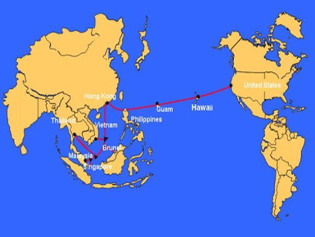 Tuyến cáp quang biển quốc tế AAG là tuyến cáp đầu tiên kết nối giữa Đông Nam Á và Mỹ, sử dụng công nghệ ghép bước sóng quang (DWDM), nối liền Việt Nam với các nước vùng lãnh thổ Malaysia, Singapore, Thái Lan, Brunei, Hong Kong, Philippines và Mỹ (Ảnh minh họa. Nguồn: Internet)