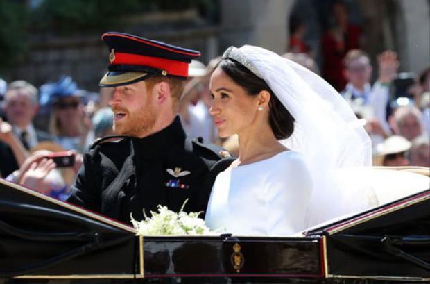 Hoàng tử Harry và Meghan trong lễ cưới. Ảnh: AFP.
