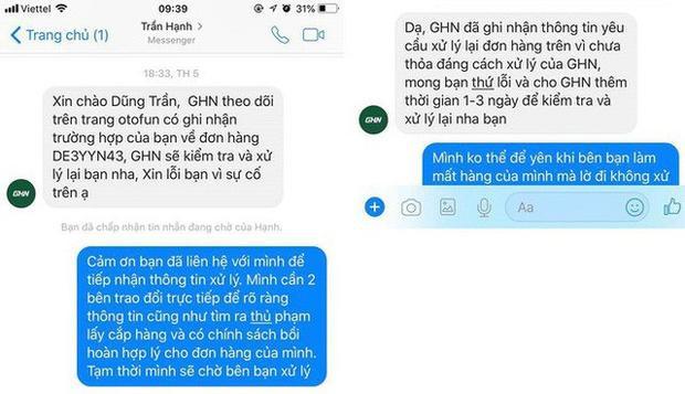 Tin nhắn phản hồi của Giao hàng nhanh về sự cố với khách hàng Trần Dũng.