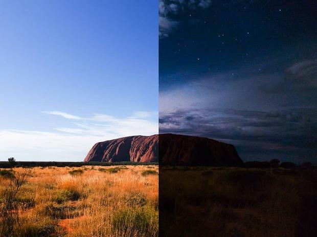 Bạn hoàn toàn có thể lấy chi tiết ở dãy núi bằng cách tự lấy nét vào vùng tối, nhưng với ảnh này, bầu trời sẽ là chủ thể chính. Khi đó, Galaxy S9 sẽ cho ra bầu trời rõ nét hơn, không lóa, và gia giảm phơi sáng ở vùng núi trong ảnh chụp vào buổi tối. (Ảnh: Núi Uluru, Australia - remybrand - Instagram)