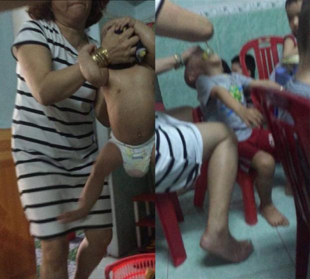 Hình ảnh bảo mẫu Hồng bạo hành dã man trẻ nhỏ bị phát tán trên mạng xã hội khiến dư luận phẫn nộ.