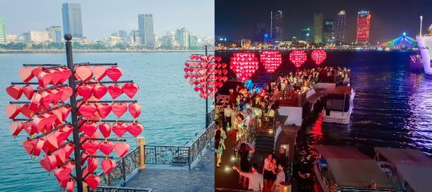 Một góc chụp khác tại cầu tàu tình yêu Thành phố Đà Nẵng, khung cảnh dường như trở thành một thế giới cổ tích đầy nhiệm màu với hai sắc thái đối lập ngày đêm độc đáo, muôn ánh đèn lập lòe trong đêm được ghi lại thật sống động và rõ rệt. (ảnh Nhi Na Nguyễn)
