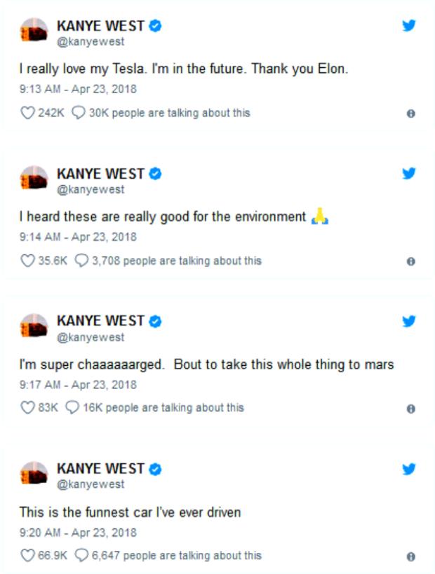Những Tweet thể hiện sự thích thú của Kanye West đối vớiTesla Model S P100D.