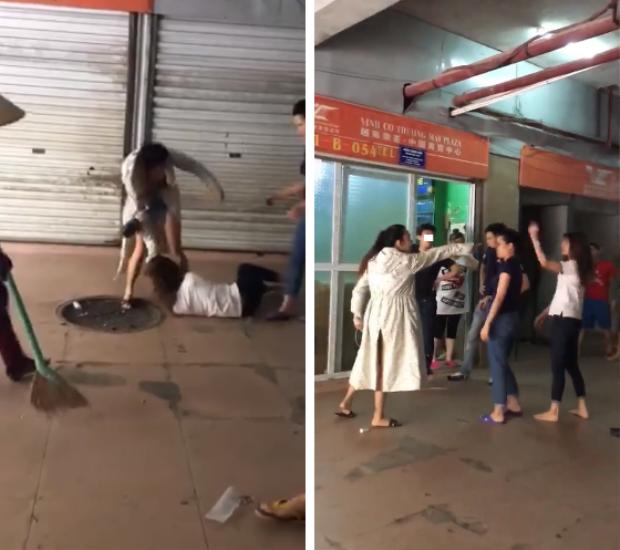 Người vợ mới có hành động chửi bới, đánh đập người vợ cũ - (Ảnh cắt từ clip).