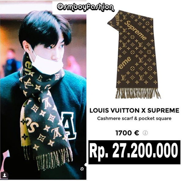 """Những chiếc khăn to sụ """"dễ thương"""" của Suho có giá gần 45 triệu VNĐ."""