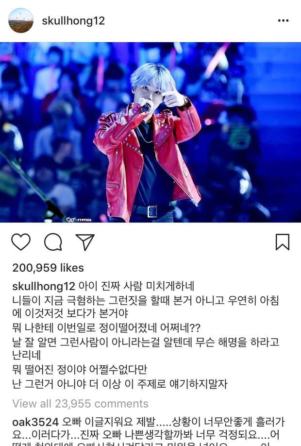 Bài đăng của nam ca sĩ trên Instagram.