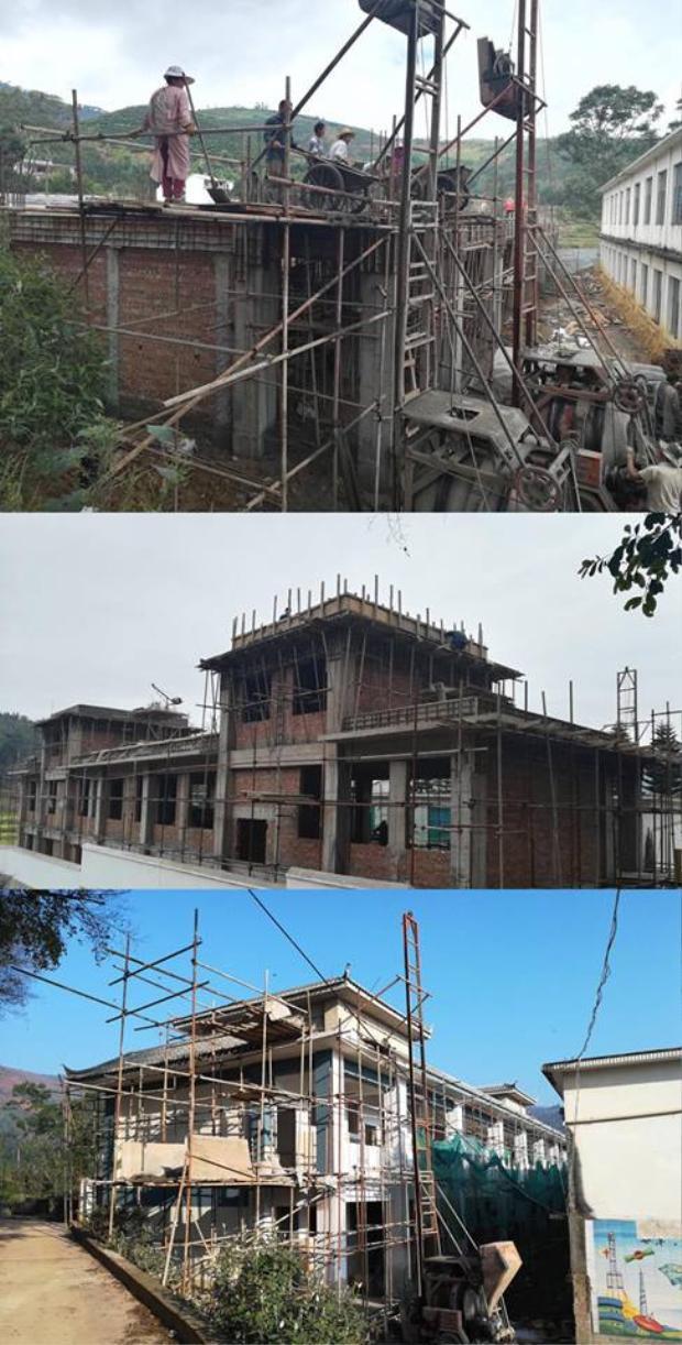 Hình ảnh Trường tiểu học Hi vọng Yoona đang được xây dựng tại Vân Nam, Trung Quốc.